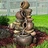 Sunnydaze Honey Pot with Stones Outdoor Garden Water Fountain with LED Lights, 25 Inch Tall Review