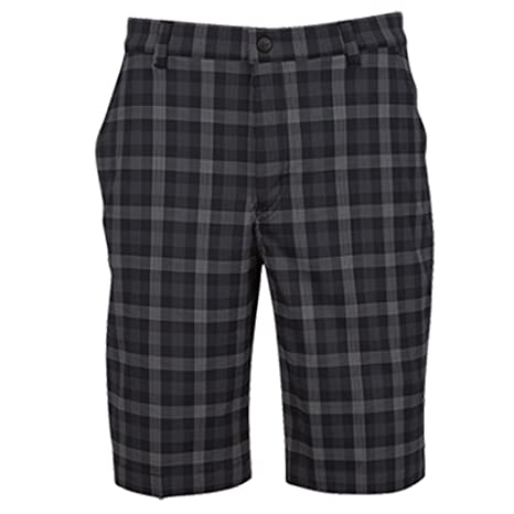 c43c9e955 Image Unavailable. Image not available for. Color  Greg Norman Hybrid Byron  Plaid Shorts-Black- 35