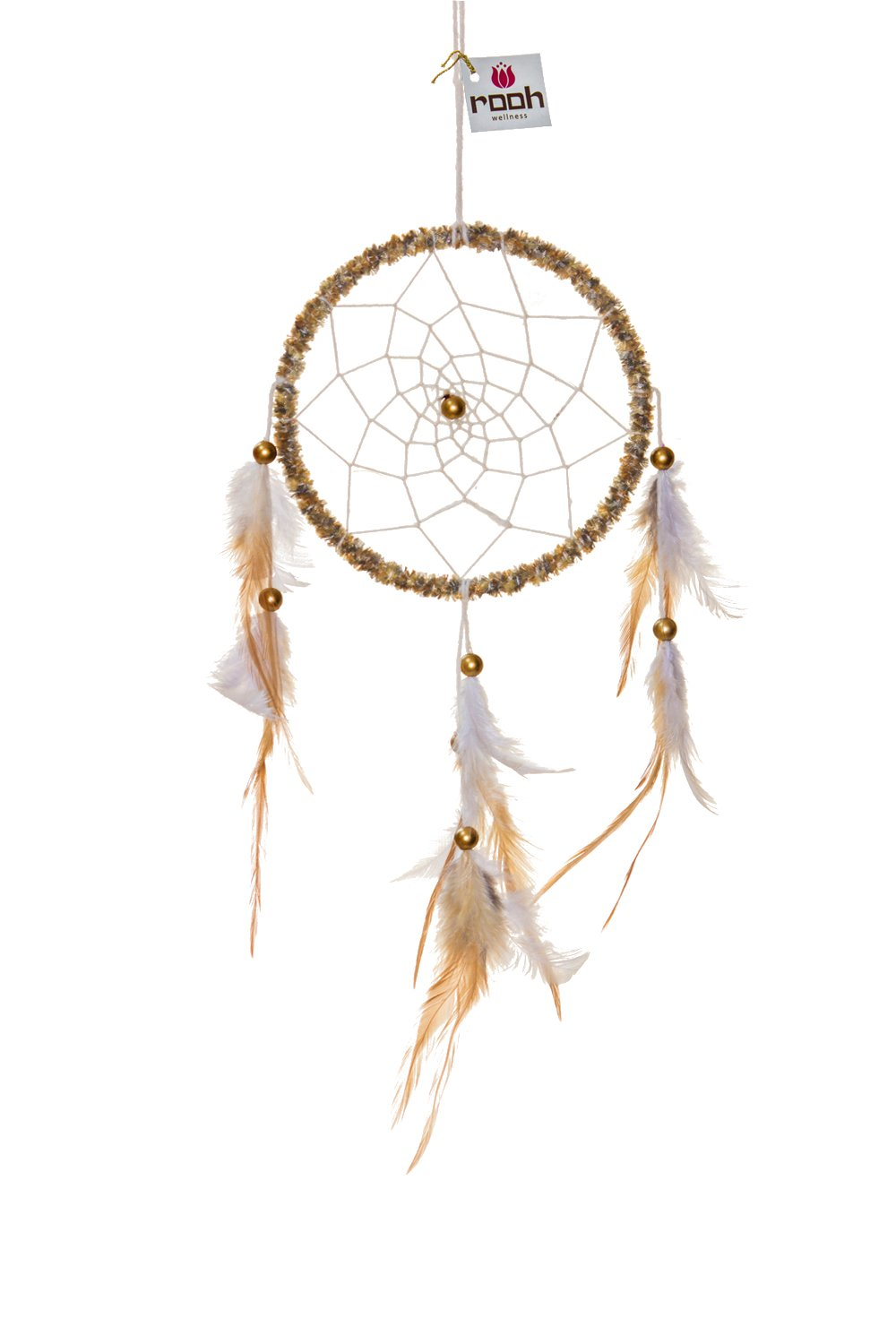 Rooh Dream Catcher ~Gold Velvet ~ Handmade Hangings for Positivity (Can be used as Home Décor Accents, Wall Hangings, Garden, Car, Outdoor, Bedroom, Key chain) (gold)