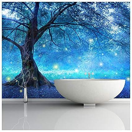 azutura Blue Fairy Tree Wall Mural Fairytale Forest Photo Wallpaper ...