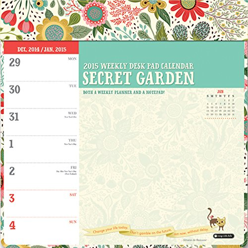 Orange Circle Studio 2015 Weekly Desk Pad Calendar, Secret Garden
