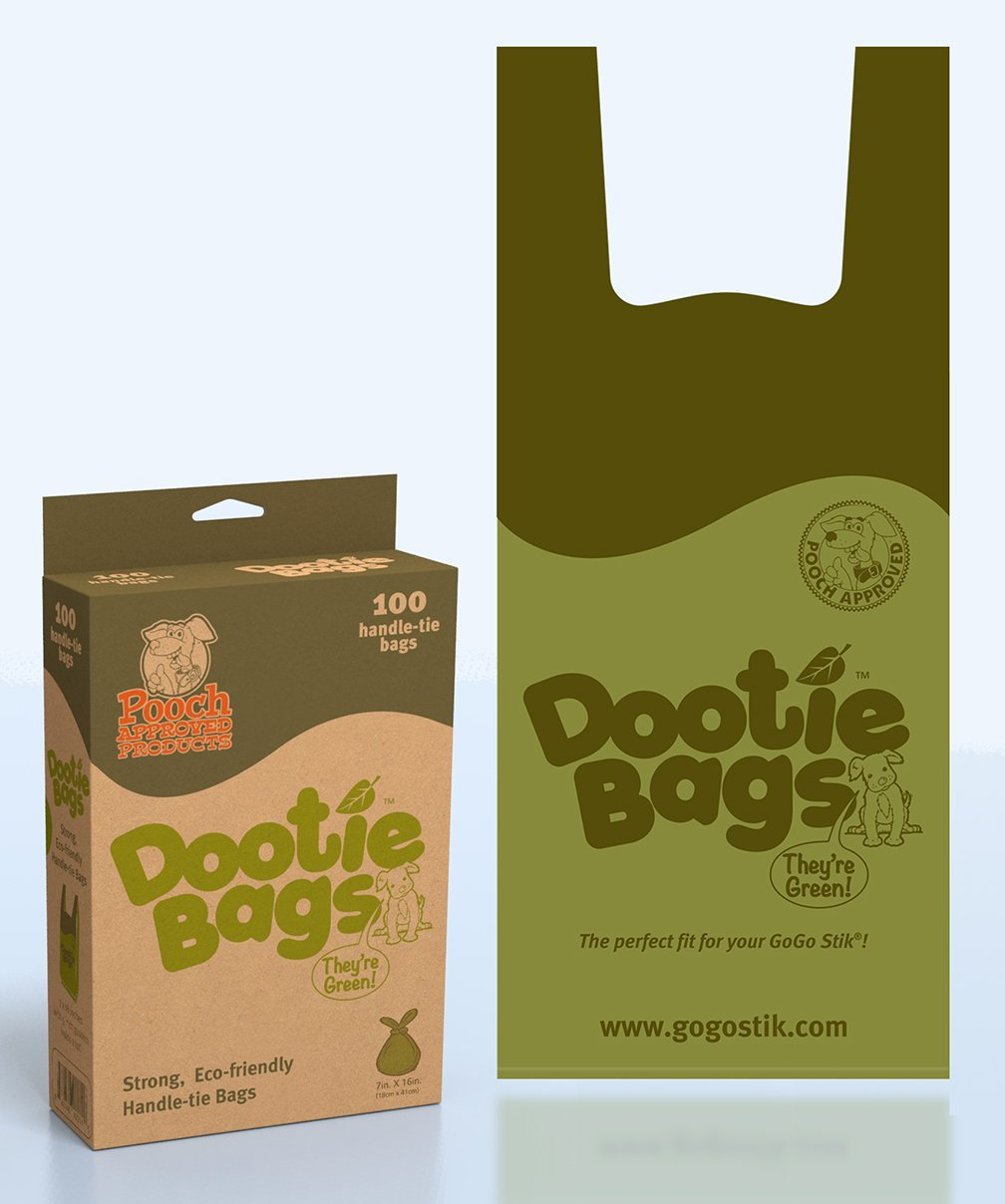 Dootie Bags - 100-Count Handle Tie, With Gussets - Great Fit for GoGo Stik!