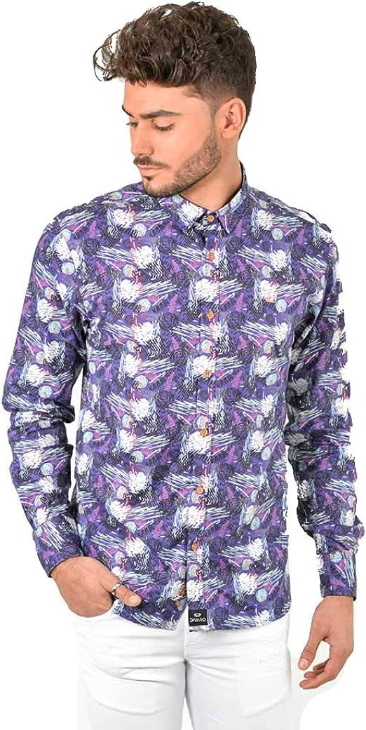DIVARO - Camisa Estampado Abstracto Manga Larga Color Violeta - para Hombre: Amazon.es: Ropa y accesorios