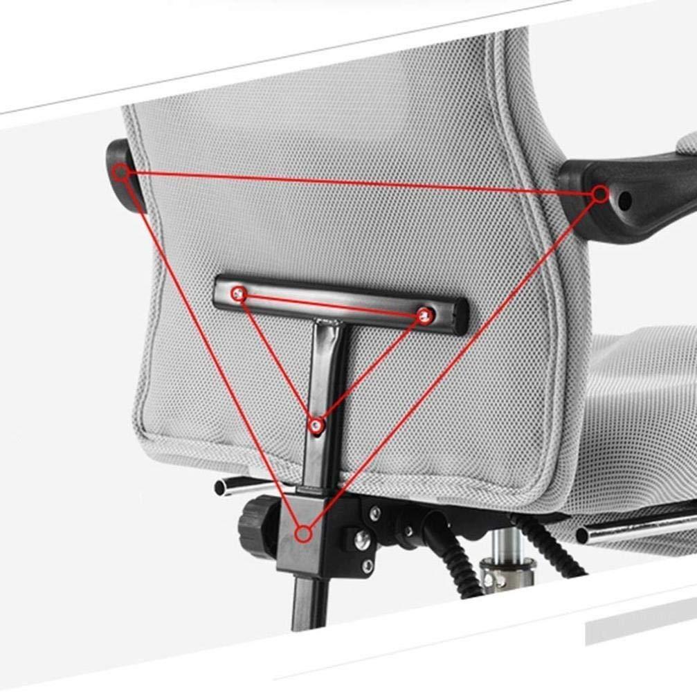 THBEIBEI Swivel kontorsstol spelstol datorstol vilande chef stol hög rygg avtagbar dubbel kudde nät ryggstöd bärande vikt 200 kg (färg: grå) BLÅ