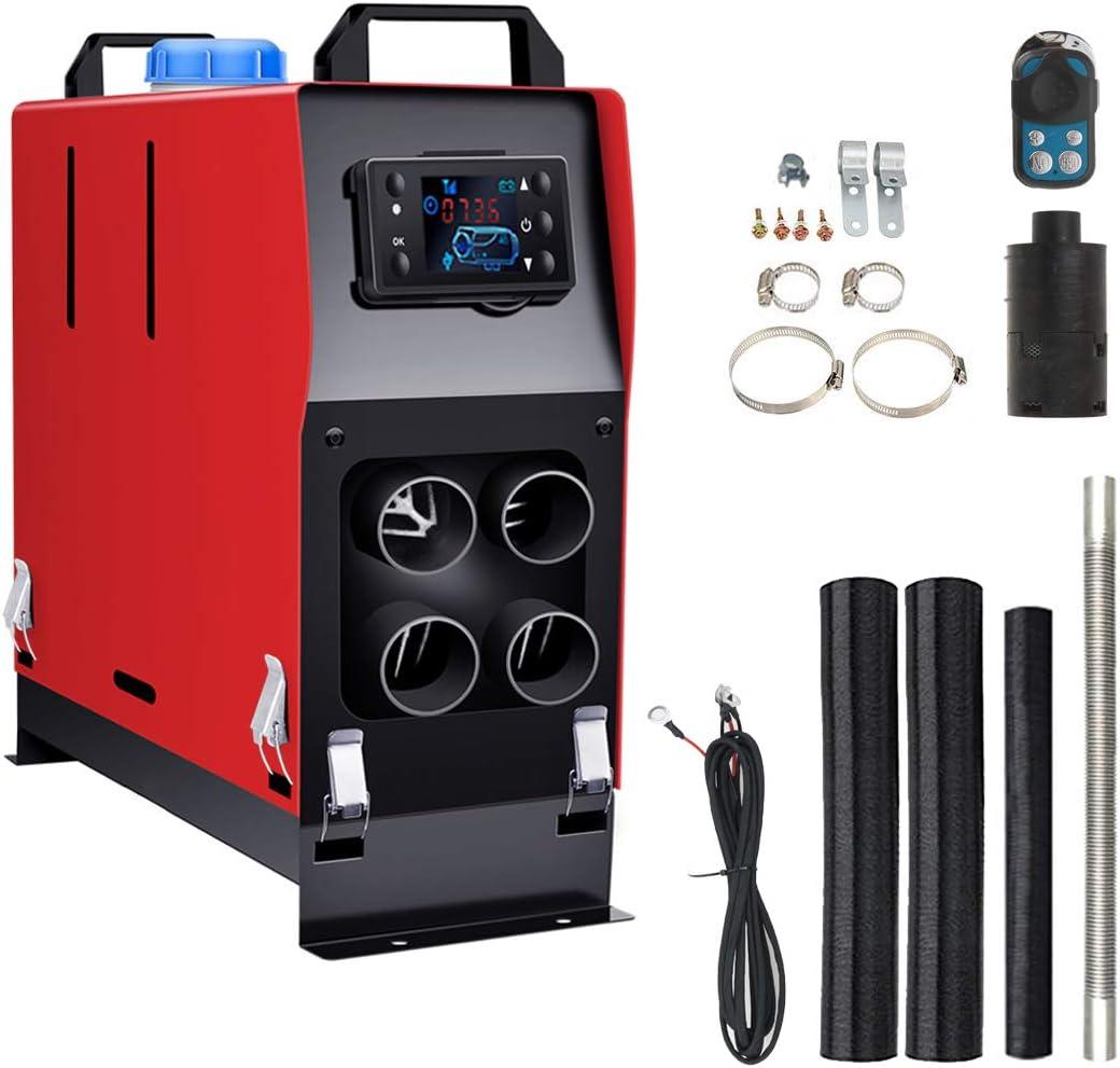 Vinteky Calefacción Estacionaria 12V Diesel, 5000W Calefacción Estacionaria Monitor LCD 4 Agujeros, Termostato para Furgonetas/Camiones/Caravanas/Remolques