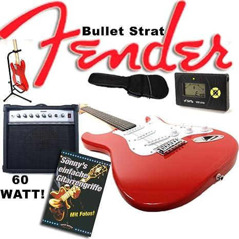 3/4 Mini Guitarra eléctrica Original Fender Squier Bullet Strat Rojo + Amplificador de 60