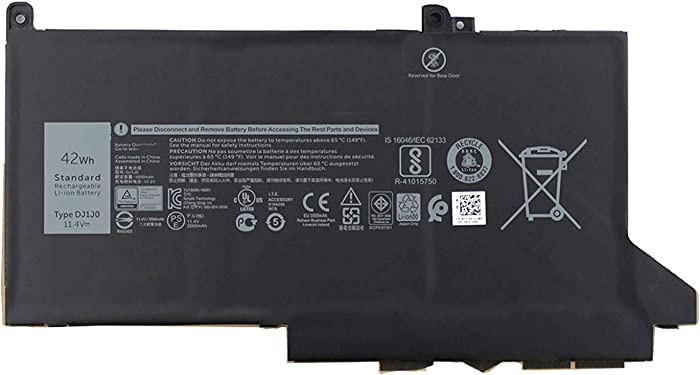 Ding New DJ1J0 Replacement Laptop Battery Compatible with Dell Latitude 12 7000 7280 7480 Series 451-BBZL ONFOH PGFX4 (11.4V 42Wh)
