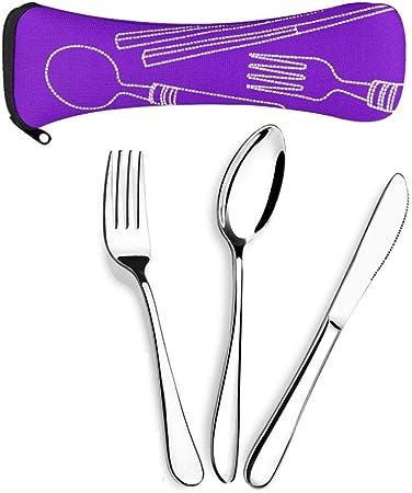 Aigemi 6 Piezas de Juego de Cubiertos de Acero Inoxidable, Cuchillo Tenedor Cuchara Conjunto de Cubiertos de Viaje portátil con Funda de Transporte ...