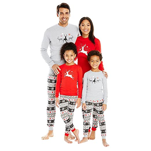 Christmas Pajamas - Family Matching Pajamas Sets Flying Reindeer Christmas  Pjs Cotton Pajama Sets (3T adcf93845