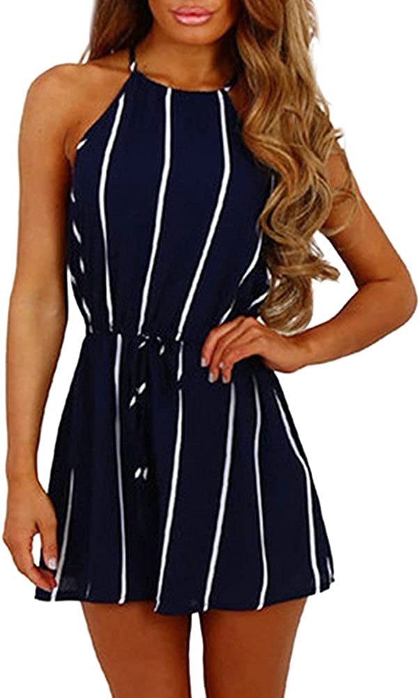 Handyulong Women Rompers, Casual Sleevless Stripe Print Jumpsuits Shorts Teen Girls Beach Party Playsuits