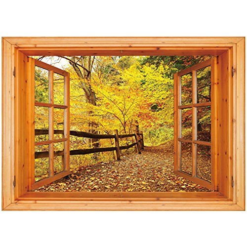 3D Depth Illusion Vinyl Wall Decal Sticker [ Landscape,Autumn Season Fall Trees Leaves on Pathway to Forest with Fence Photo,Ginger Yellow Marigold ] Window Frame Style Home Decor Art Removable - No Gingers Soles Have