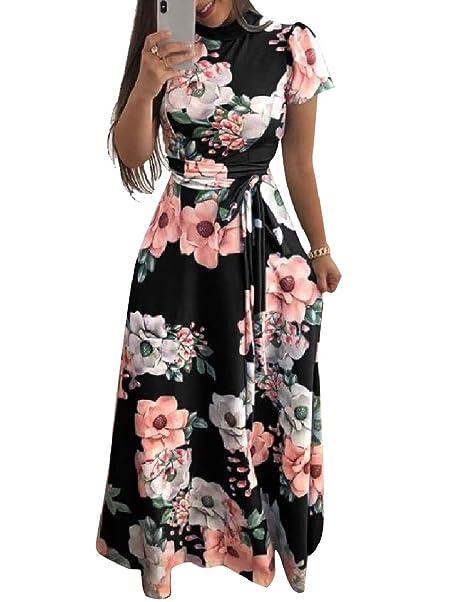 Andoky Womens Imprimir Longitud Vestido De Talle Alto Jardin