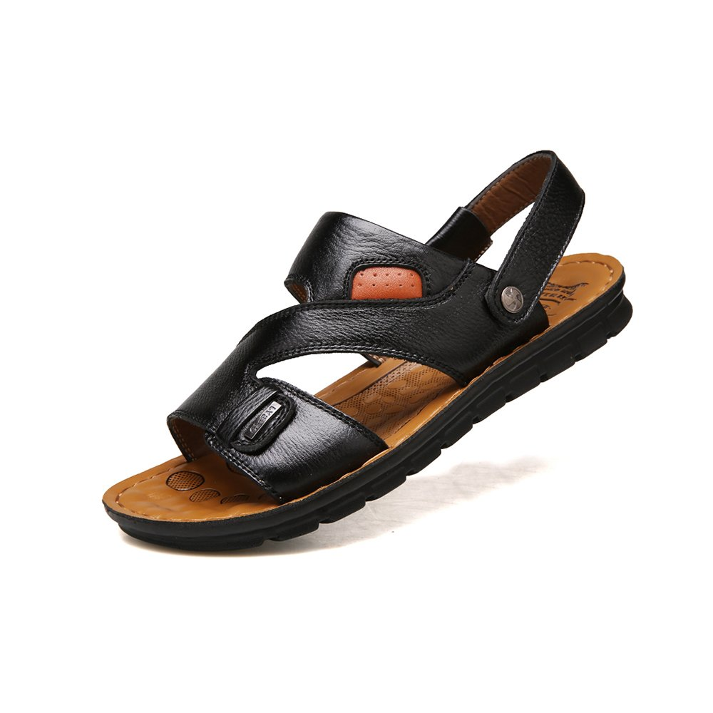 YQQ Male Casual Shoes Male YQQ Sandals Men's Slippers Beach Shoes Summer Leather Soft Bottom Massage Insole Cozy Non-Slip B07GGM6T1K Slippers 93e7b5
