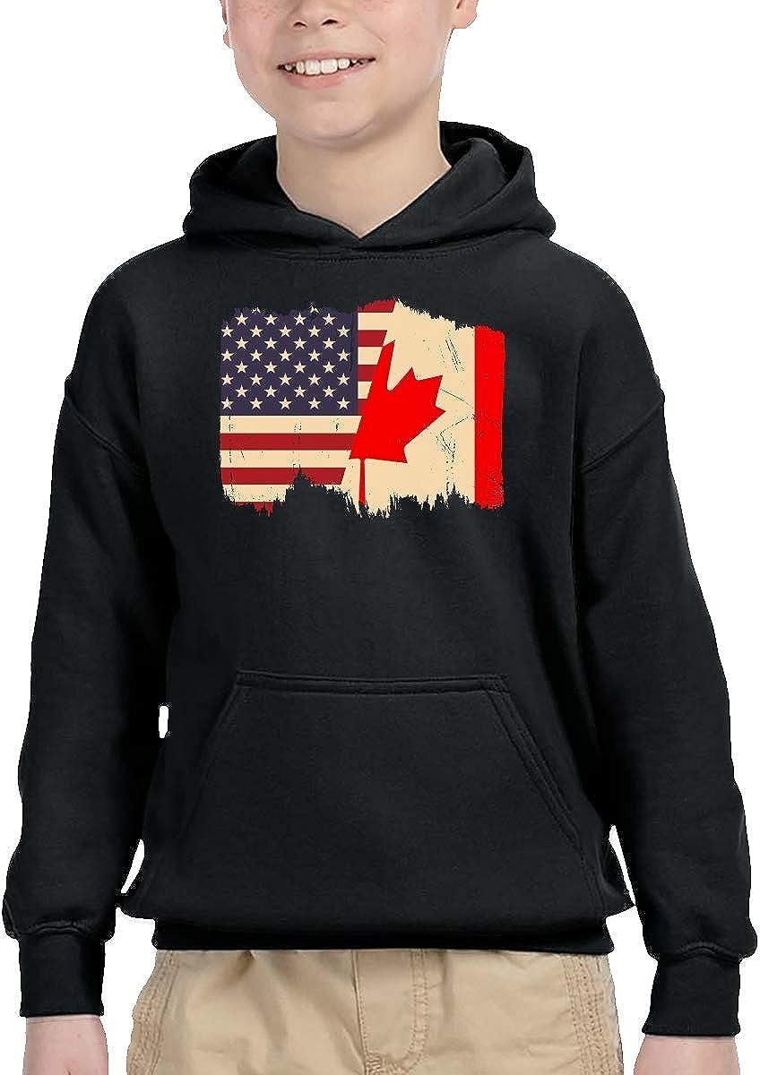 UGFGF-1S Distressed Canadian American Flag Children Boys Girls Long Sleeve Sweatshirts Pocket Hoodie 2-6T