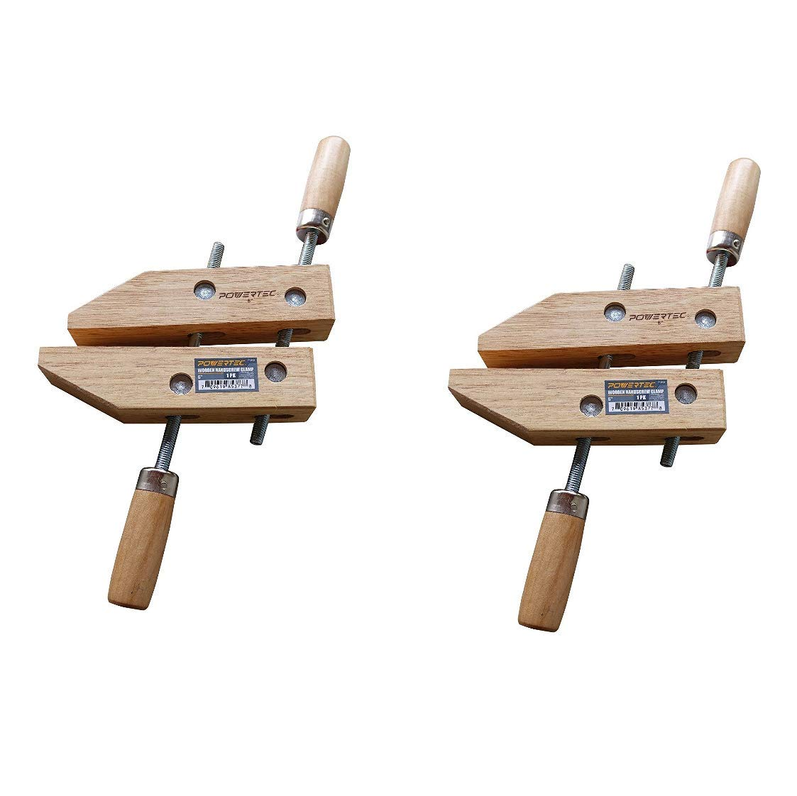 POWERTEC 71525 Wooden Handscrew Clamp - 12 Inch | Hand Screw Clamps for Woodworking, 2PK by POWERTEC