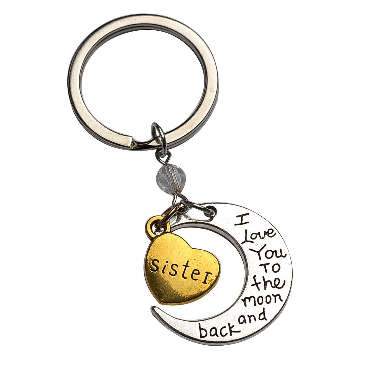 Silver Tone Daughter I Love You To The Moon and Back Heart Pendant Keychain JiangYan-US JY-KE-01-0007