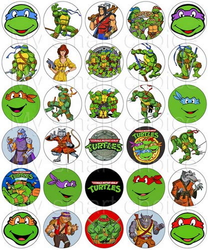 30 x Edible Cupcake Toppers - Teenage Mutant Ninja Turtles TMNT Themed Collection of Edible Cake Decorations | Uncut Edible Prints on Wafer Sheet]()