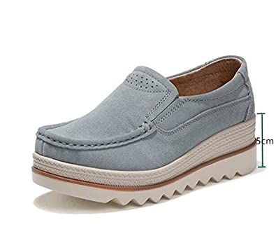 bf82a1e0fba6d NEOKER Women Ladies Loafer Flats Platform Shoes Slip on Suede Moccasins  Summer Low top Wedge Sneakers