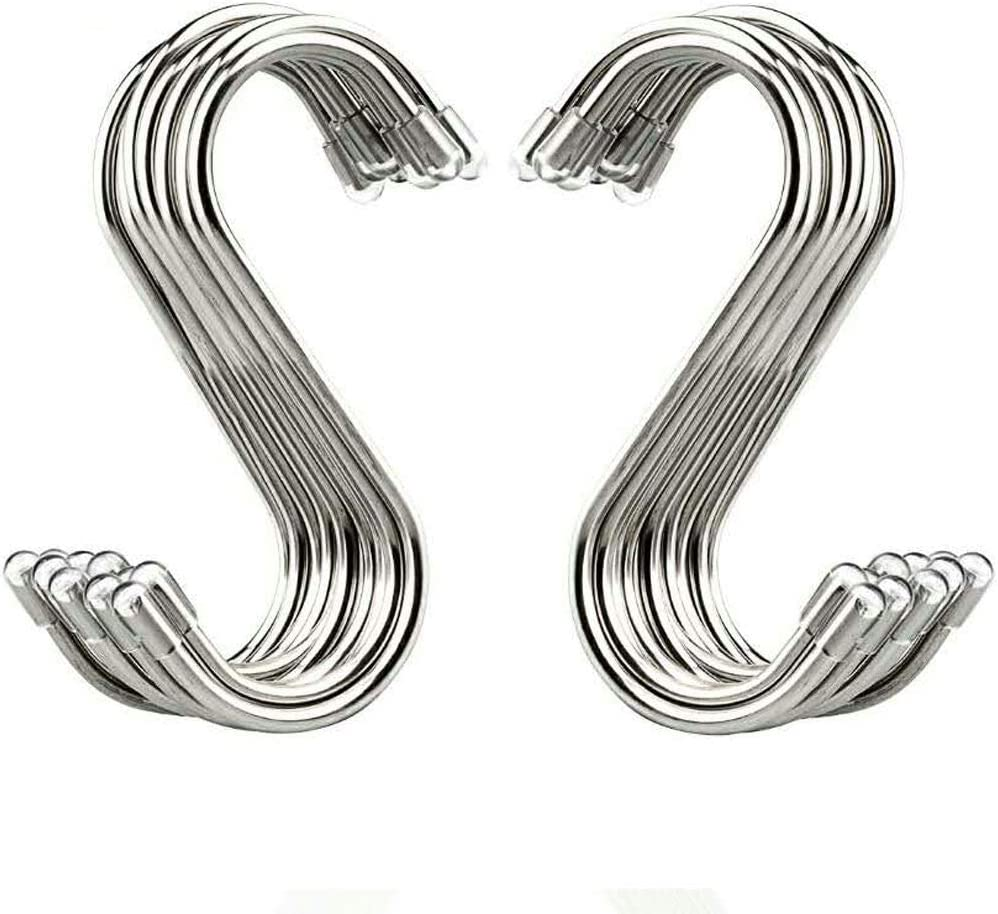S Shaped Hanging Hooks Metal S Hooks for Hanging Pots and Pans Plants Stainless Steel Heavy Duty S Hanging Hooks Hangers for Kitchen Bathroom 20 Pieces