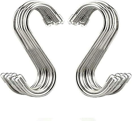 S Ganchos Cocina Metal Acero Inoxidable Ganchos Ganchos en Forma de S 8 PCS Ganchos para Colgar para el Gabinete de la Cocina Oficina Dormitorio Ba/ño con Dise/ño de Apertura Apretada Plata S Hook