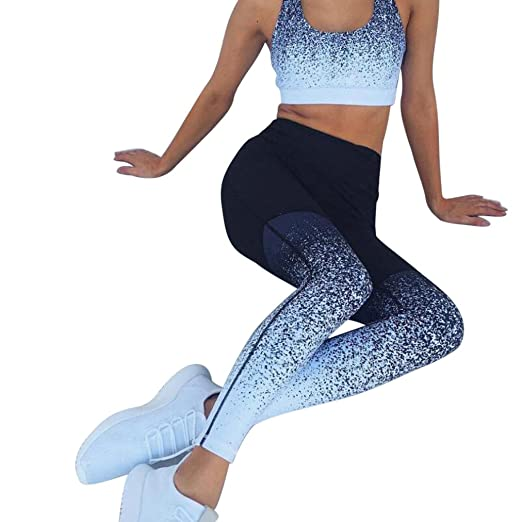 8b71391bbc Gradient Color Yoga Pants, Women's High Waist Running Sports Pants Fitness  Elastic Workout Leggings by