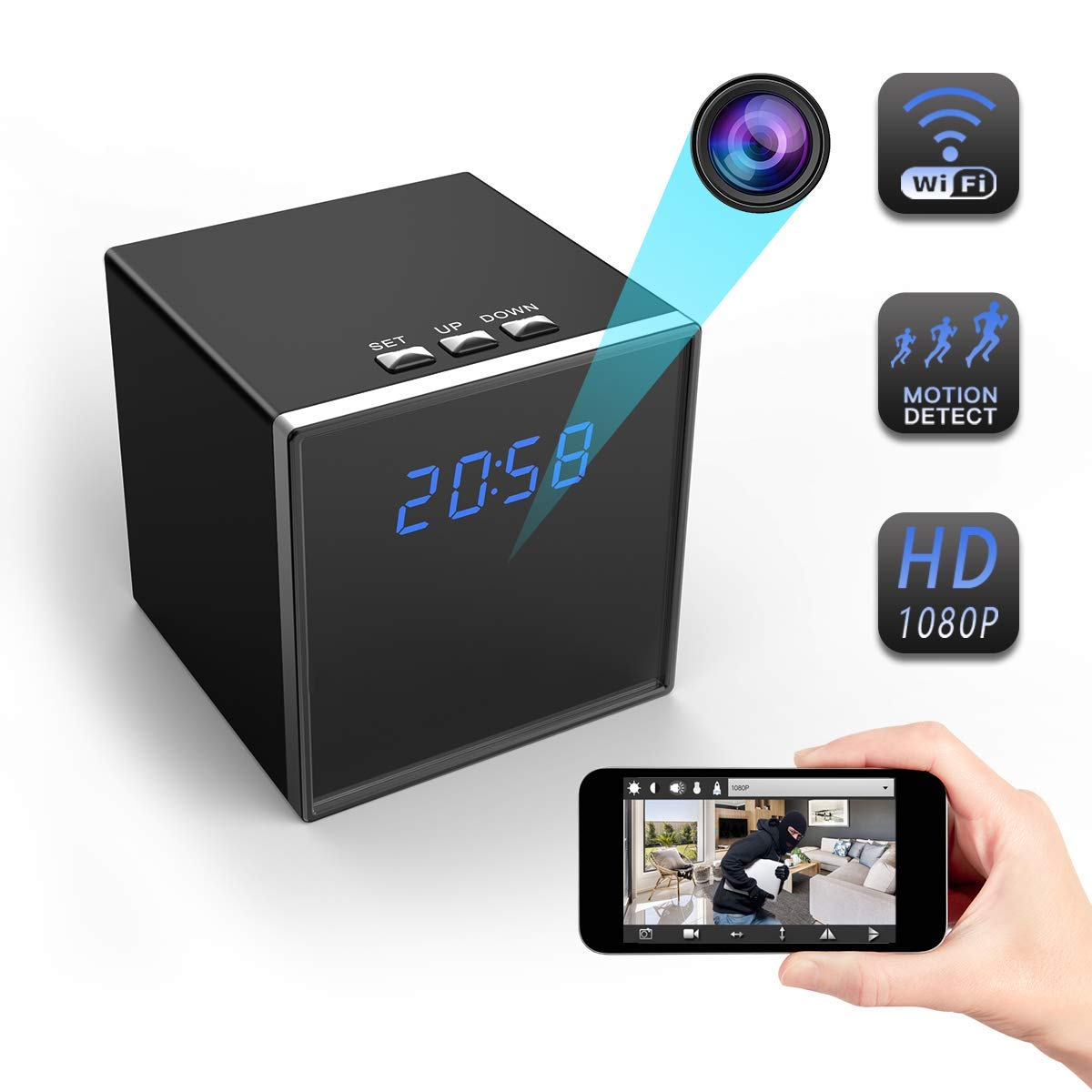 Hidden Camera, Corprit WiFi Spy Camera Alarm Clock HD 1080P Clock Camera Nanny Cam for Home Office Security Loop Recording Motion Detection Home ...