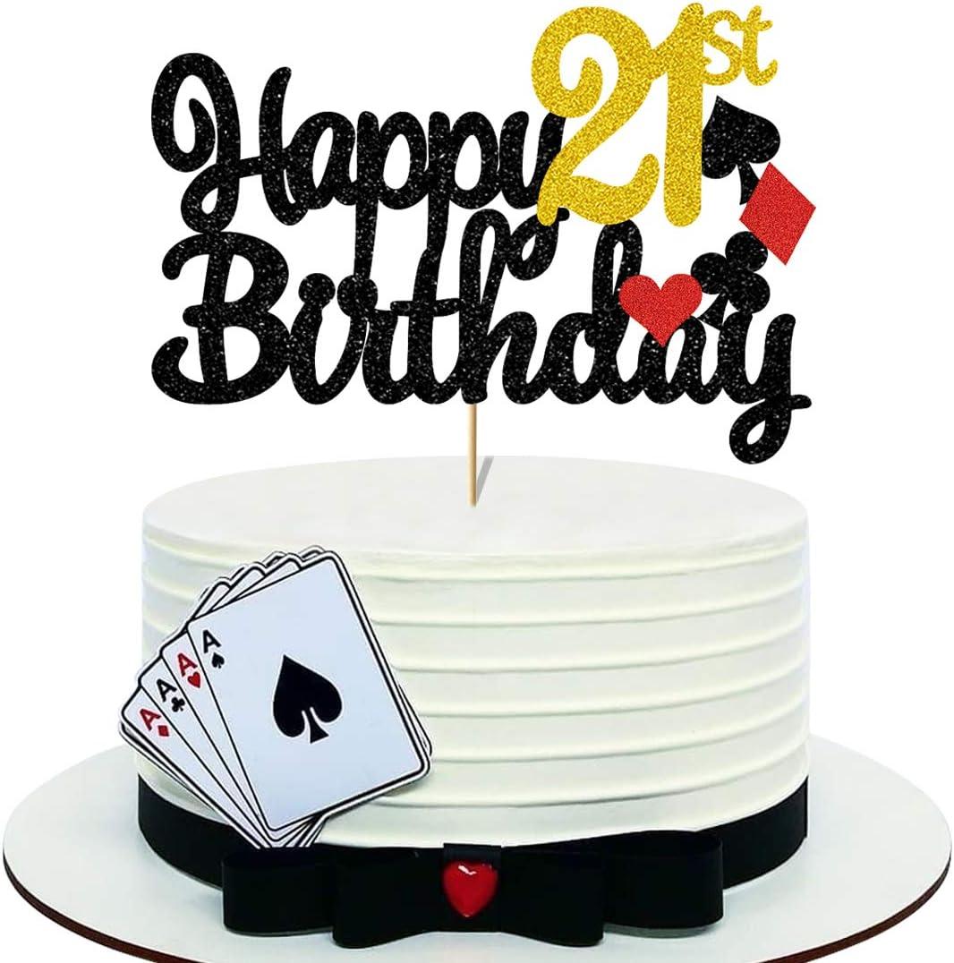 Black Happy 21st Birthday Cake Topper for Boys Girls, Double Sided Glitter Poker Theme 21 Birthday Cake Topper for 21st Birthday Party Decorations Decor (6.7'' x 4.6'')