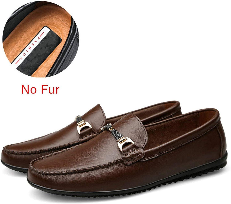 Men Casual Shoes Men Shoes Split Leather Men Loafers Moccasins Slip On Driving Mens Flats Loafers,Black,8.5
