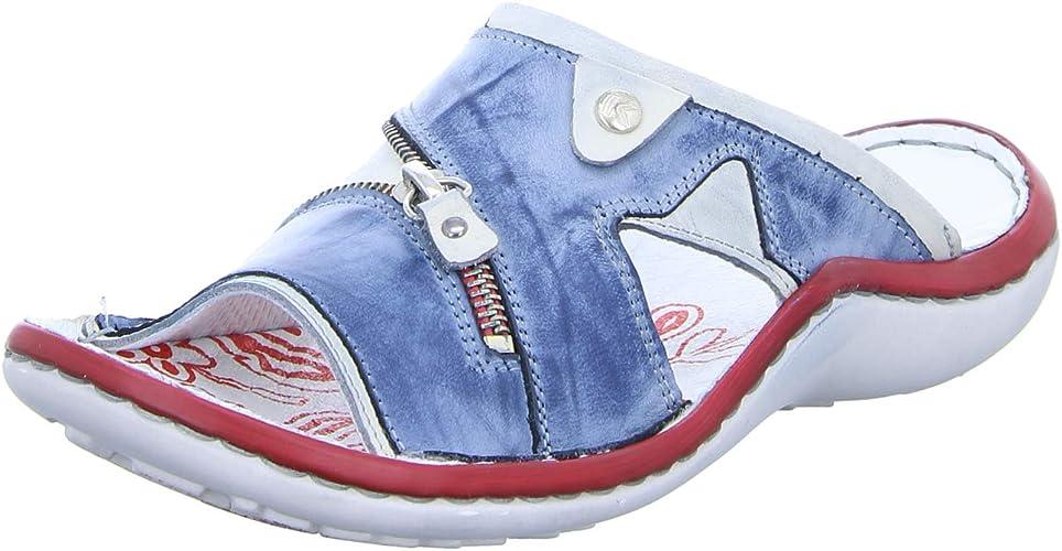 Krisbut Damen Leder Pantoletten Farbe blau-weiß Größe 41-42 NEU