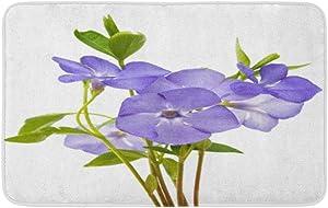 "Adowyee 16""x24"" Bath Mat Purple Beautiful Blue Flower Periwinkle Blossom Botanical Botany Bouquet Cozy Bathroom Decor Bath Rug with Non Slip Backing"