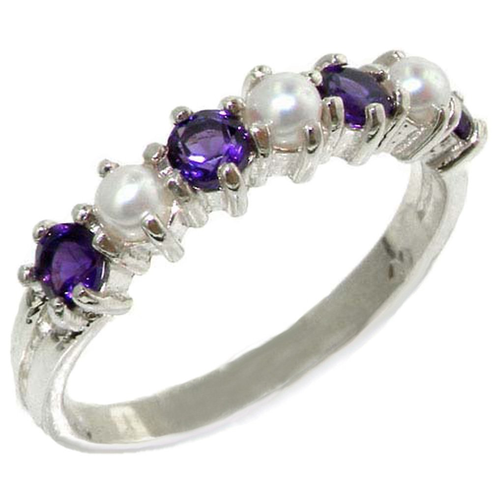 18k White Gold Cultured Pearl & Amethyst Womens Eternity Ring - Sizes 4 to 12 Available