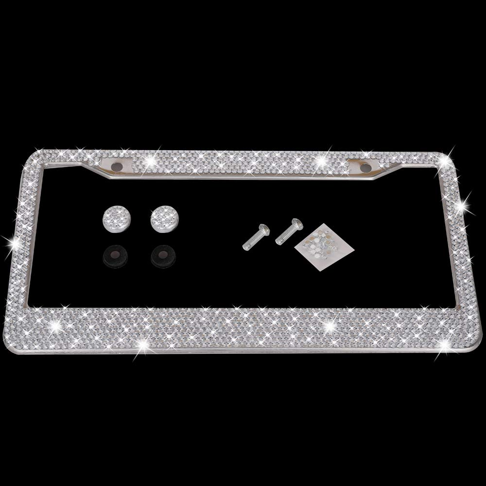 pcs Finest 14 Facets SS20 Luxury Handcrafted Crystal Silver Rhinestone Premium Stainless Steel Metal License Waterproof for Car SUV Anti-Theft Screws Caps 2-Holes KONDUONE Bling License Plate Frame 1000