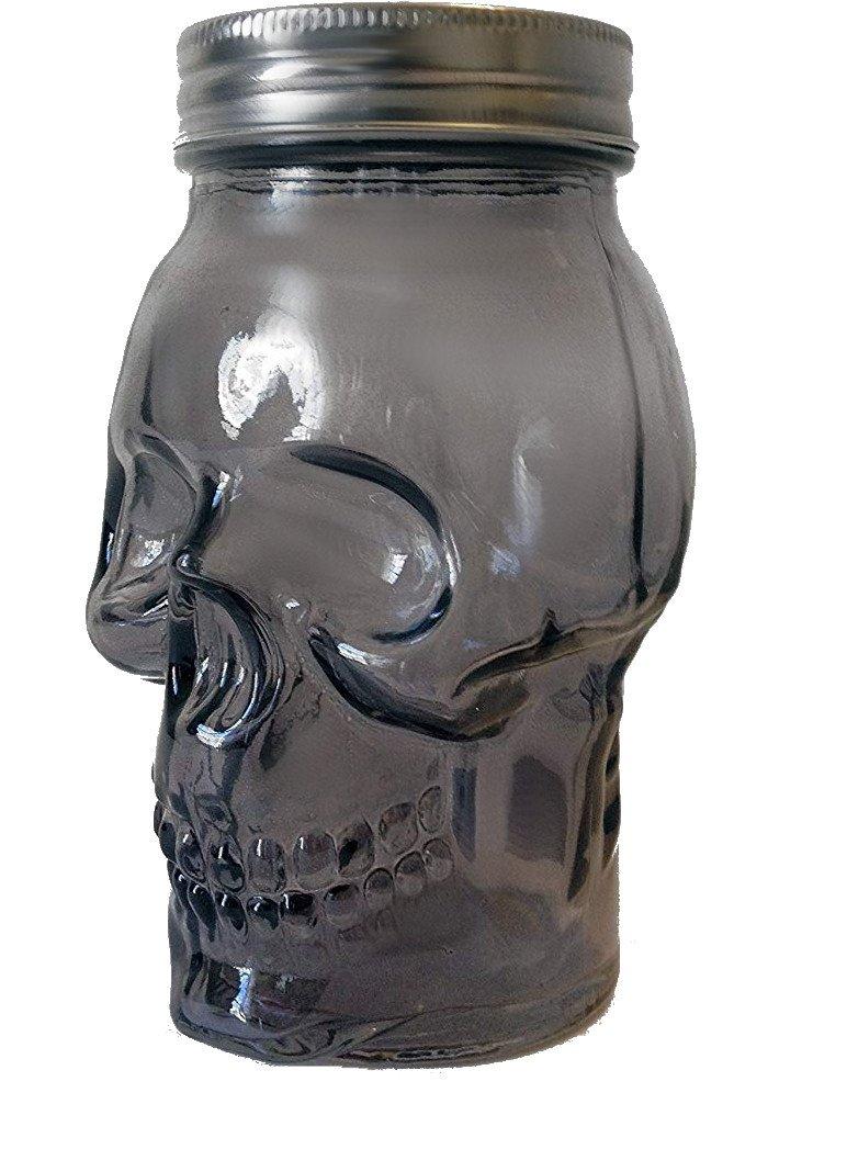 Circleware 7452 07452 Smoke Skull Mason Jar with Silver Finish Lid, 16 oz