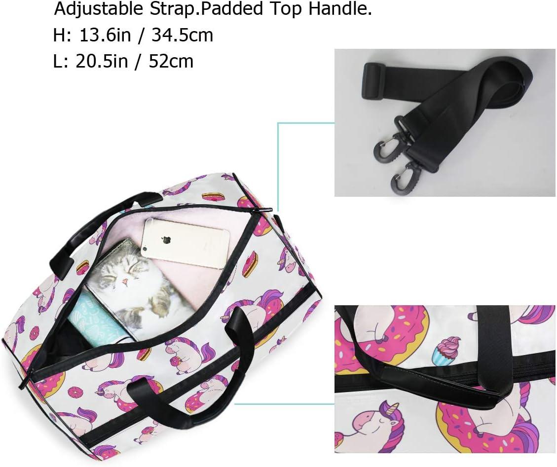 Travel Duffels Unicorn Eating Donut Duffle Bag Luggage Sports Gym for Women /& Men