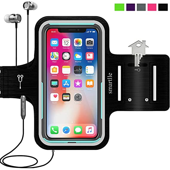 size 40 cc6df f1cb7 iPhone & Phone Armband Running Workout Holder for iPhone X/XS,8/7/6s/6,  Samsung Galaxy S10/S10E/S9/S8, LG, Pixel 3, MOTO,ONEPLUS with their CASES  on, ...