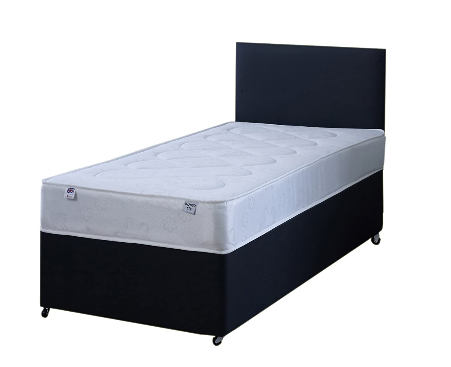 3FT Single Black Fabric Divan Bed Set Including Deep Quilt Mattress And Headboard In2Bed LTD