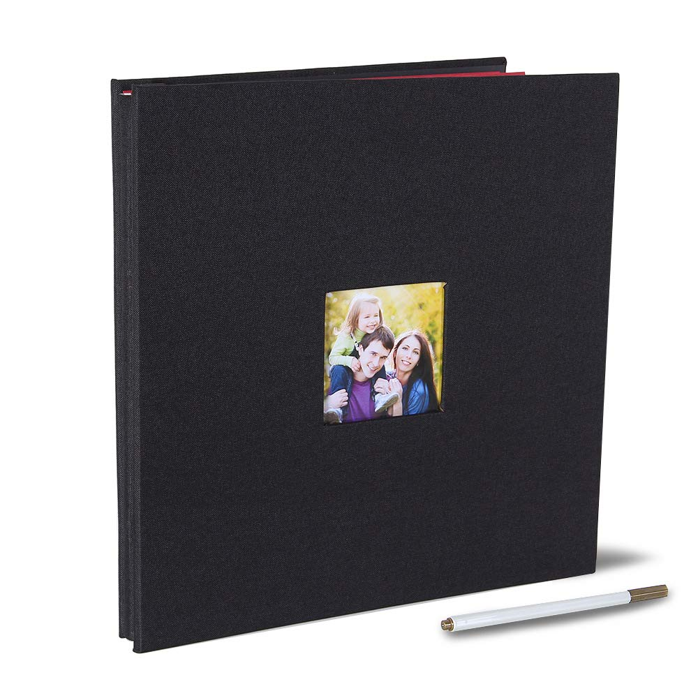 Large Self Adhesive Photo Album Magnetic Scrapbook Album 40 Magnetic Double Sided Pages Fabric Hardcover DIY Photo Album Length 13 x Width 12.6 (Inches) with A Metallic Pen (Black)