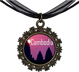 Chicforest Bronze Retro Style Travel Angkor Wat the sunset Cambodia Round With Flower Lace Pendant