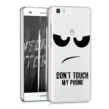 kwmobile Funda para Huawei P8 Lite (2015) - Carcasa de {TPU} para móvil y diseño Dont touch my Phone en {negro / transparente}