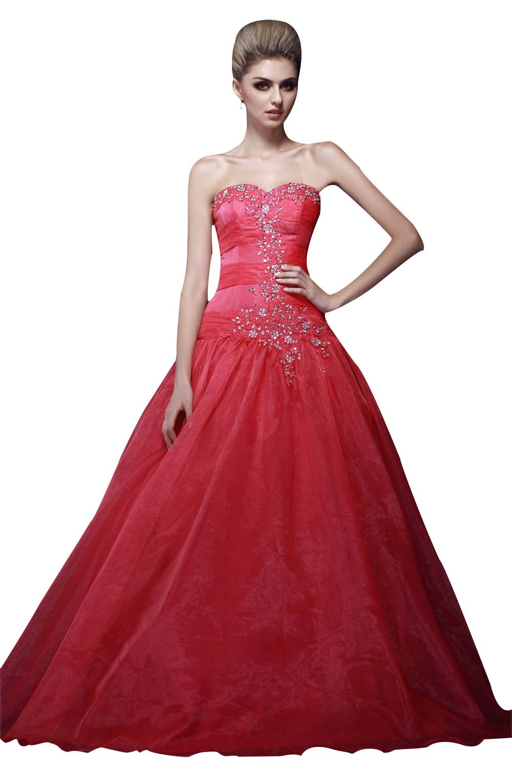 Snowskite Women's Charming A-line Sweetheart Organza Beaded Prom Quinceanera Dress Coral 10