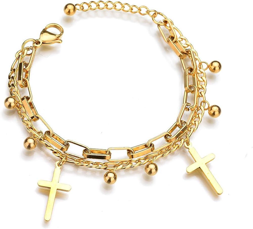 ZZY-J Titanium Stainless Steel Cross Adjustable Bangles Bracelets for Women,Girls