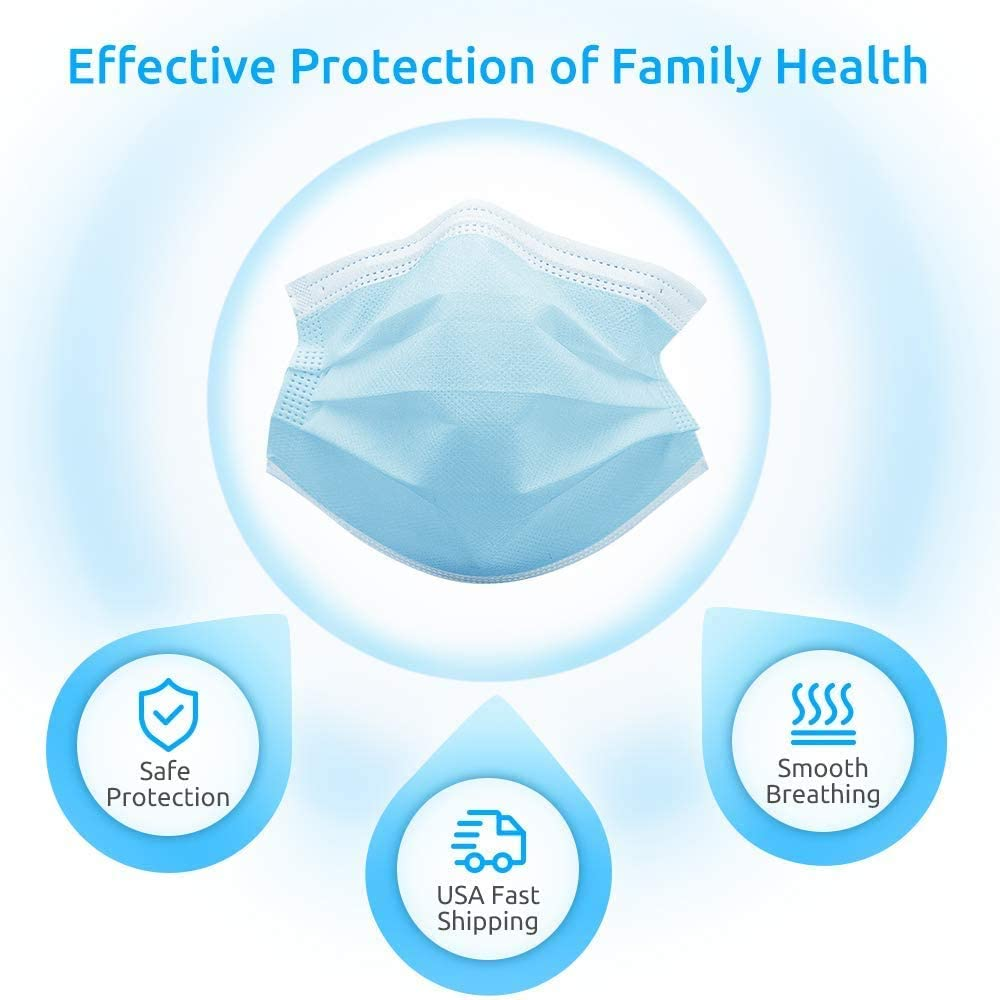 Disposable Face Masks 45 PACK 3 Ply Protection Safety Mask for Dust Air Pollution Personal Protective Mouth Cover for Facial Prevention Earloop Masks Bulk Blue Indoor and Outdoor Use