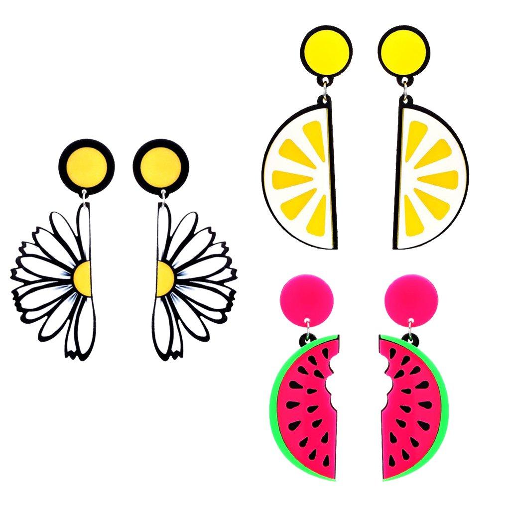 Dovewill 3 Pairs Lovely Joint Daisy Flower Lemon Watermelon Slice Earrings Funny Dangle Earring Fashion Lady Summer Ornaments