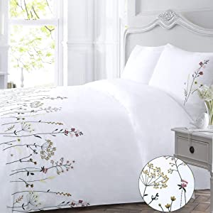 YINFUNG Flower Duvet Cover White Queen Floral Flowered Country Embroidered Botanical 90x90 Garden Branches Elegant Bloom Pink Yellow Orange Leaves Plant Cottage 3PC Zip Bedding Set Pretty 100% Cotton