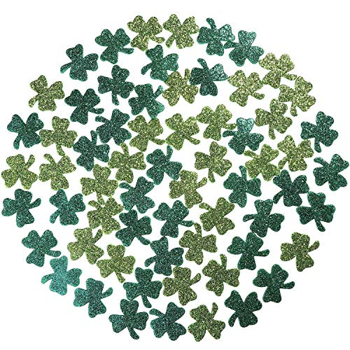 Maxdot St. Patrick's Day Dark Green and Light Green Glittered Shamrock Sticker Decorations, Totally 42 g, 120 Pieces
