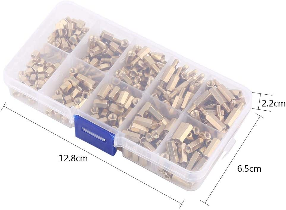 300pcs M3 Brass Standoffs Hex Male-Female /& Female-Female Stand-Off DIY Set for Motherboard Motherboard Standoff