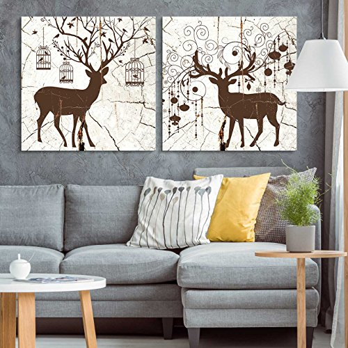 2 Panel Square Bohemian Deer Wood Effect x 2 Panels