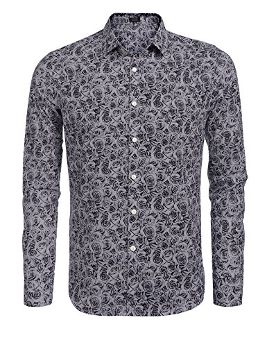 Coofandy Mens Fashion Print Casual Long Sleeve Button Down Shirt,Blue Gray,Small