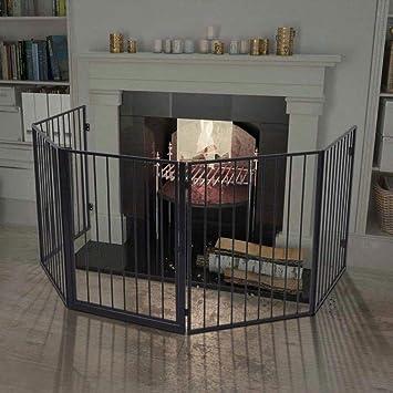 vidaxl pet fireplace fence steel black amazon co uk baby rh amazon co uk Furniture Fireplace Fireplace Baby Gate DIY