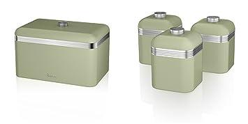 Swan Kitchen Accessories Retro Set Retro Green Bread Bin Breadbin And 3 Green